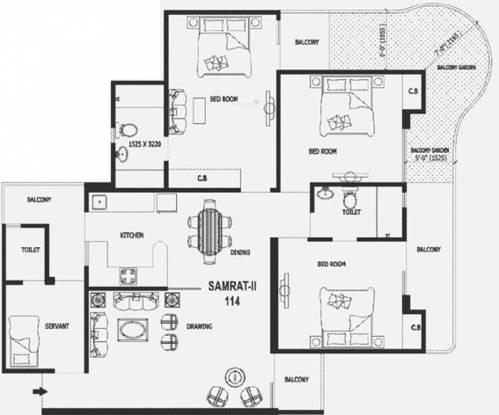 Gaursons Valerio (3BHK+2T (1,550 sq ft) + Servant Room Apartment 1550 sq ft)