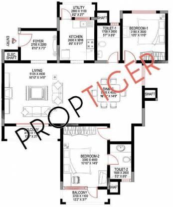 Sobha Suncrest (2BHK+2T (1,590 sq ft) Apartment 1590 sq ft)