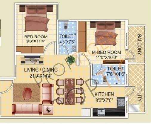 Anand Altair (2BHK+2T (960 sq ft) Apartment 960 sq ft)