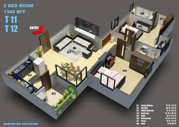 Babukhan Solitaire (2BHK+2T (1,342 sq ft) Apartment 1342 sq ft)