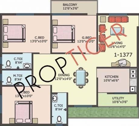 Amigo Sri Sai Garnet (3BHK+2T (1,377 sq ft) Apartment 1377 sq ft)