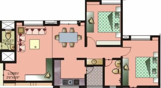 Nirmiti Lorelle (2BHK+2T (1,125 sq ft) Apartment 1125 sq ft)