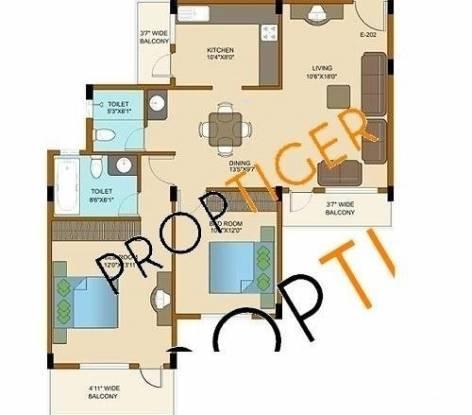 Shriram Adithya (2BHK+2T (1,100 sq ft) Apartment 1100 sq ft)