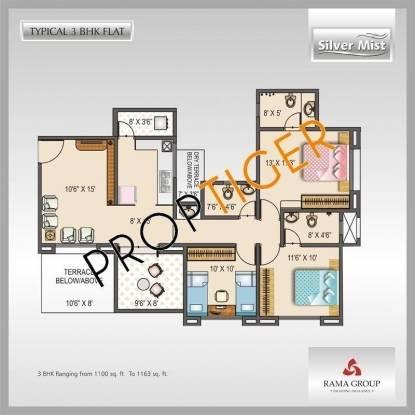 Rama Silver Mist (3BHK+3T (1,162 sq ft) Apartment 1162 sq ft)