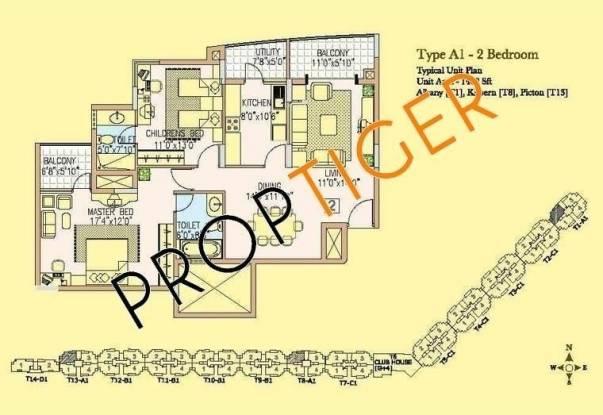 Prestige Wellington Park (2BHK+2T (1,402 sq ft) Apartment 1402 sq ft)