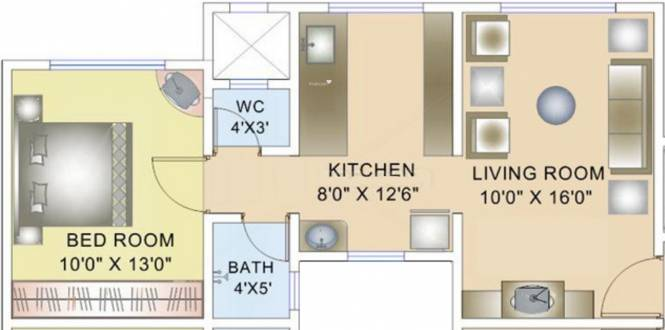 Magarpatta Zinnia (1BHK+2T (442 sq ft) Apartment 442 sq ft)