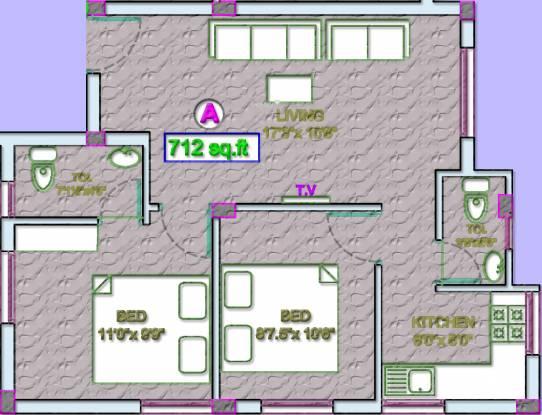 VGP Selva Nagar (2BHK+2T (712 sq ft) Apartment 712 sq ft)
