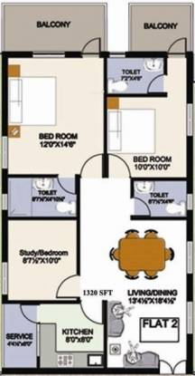 Vasudeva Bloomfield Elation Towers (2BHK+3T (1,320 sq ft)   Study Room Apartment 1320 sq ft)