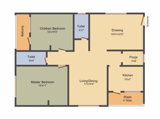 Royal Splashing Meadows (2BHK+2T (1,183 sq ft)   Pooja Room Apartment 1183 sq ft)