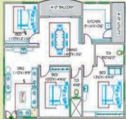 Kondaveedu Enclave (3BHK+3T (1,585 sq ft) Apartment 1585 sq ft)