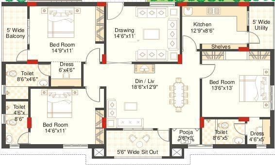 Sri Aditya Mist (3BHK+3T (1,850 sq ft)   Pooja Room Apartment 1850 sq ft)