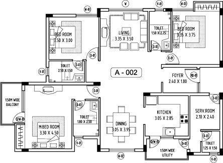 Abhinav Amara Courtyard (3BHK+3T (1,732 sq ft)   Servant Room Apartment 1732 sq ft)