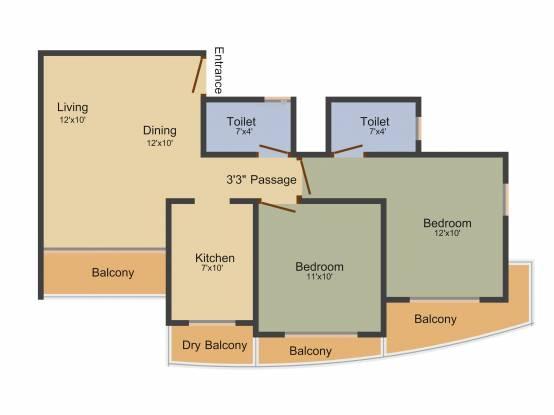 Atul Atul Madhukunj (2BHK+2T (1,015 sq ft) Apartment 1015 sq ft)