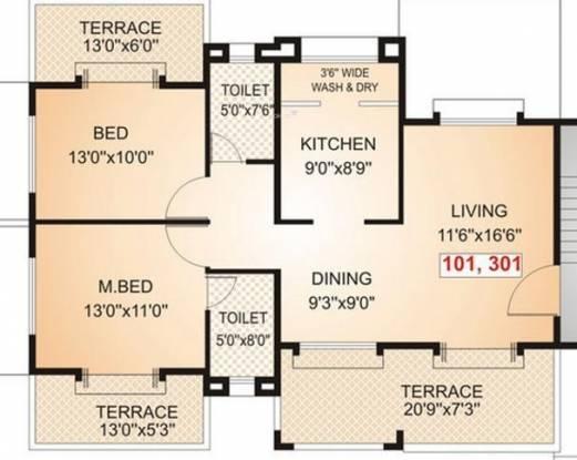 Parmar Santoor (2BHK+2T (1,210 sq ft) Apartment 1210 sq ft)