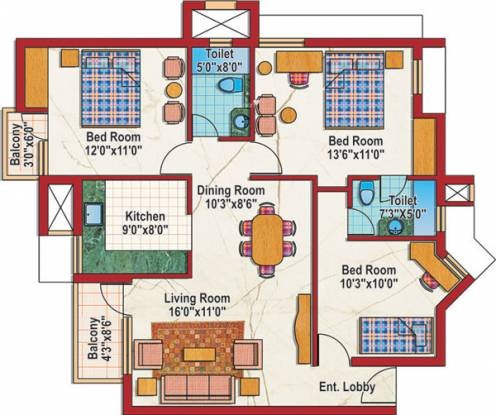 Purvanchal Silver City (2BHK+2T (1,135 sq ft)   Study Room Apartment 1135 sq ft)
