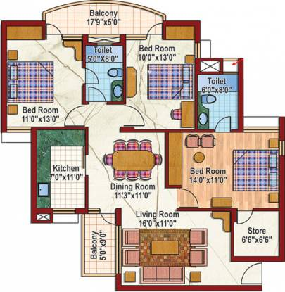 Purvanchal Silver City (3BHK+2T (1,415 sq ft) Apartment 1415 sq ft)