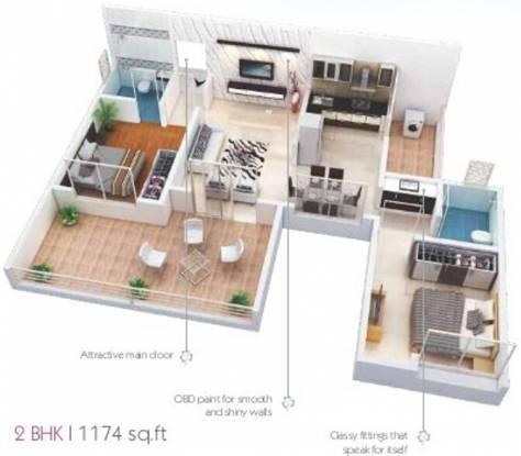 Paramount Madhupushpa (2BHK+2T (1,174 sq ft) Apartment 1174 sq ft)