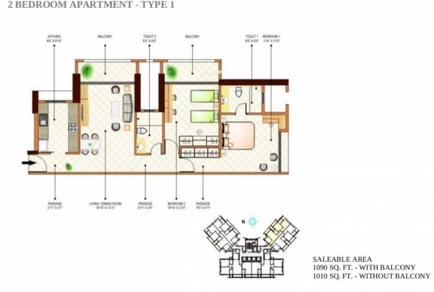 Peninsula Ashok Towers (2BHK+2T (1,090 sq ft) Apartment 1090 sq ft)