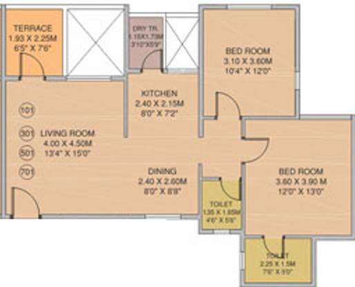 The Verve Residency (2BHK+2T (900 sq ft) Apartment 900 sq ft)