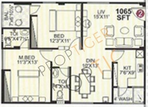 Pujitha Sri Sai Brundavanam (2BHK+2T (1,065 sq ft) Apartment 1065 sq ft)
