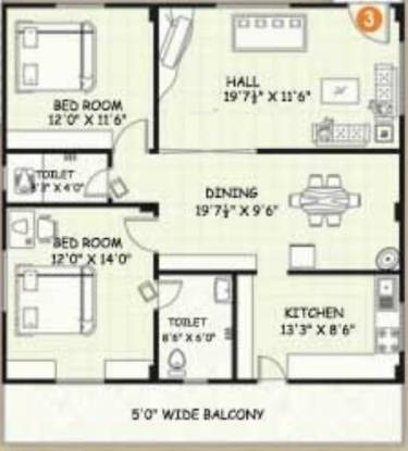 Vijay Icon (2BHK+2T (1,415 sq ft) Apartment 1415 sq ft)
