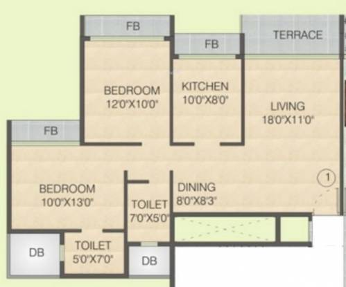 Juhi Greens (2BHK+2T (1,230 sq ft) Apartment 1230 sq ft)