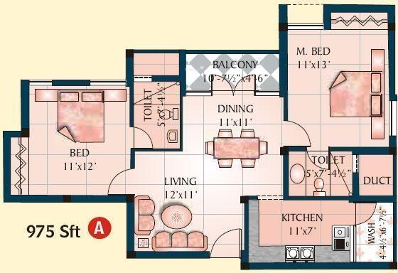 Jamals Orchid (2BHK+2T (975 sq ft) Apartment 975 sq ft)