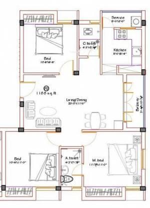 Shrusti Vasantham (3BHK+2T (1,188 sq ft) Apartment 1188 sq ft)