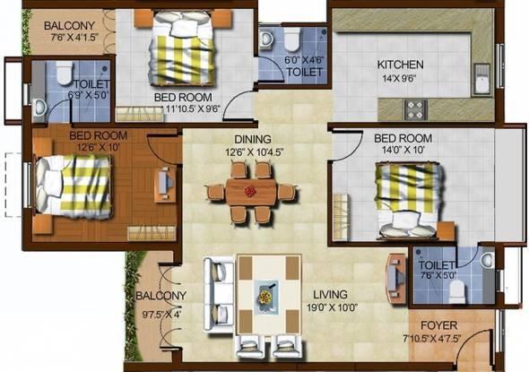 Anmol Abhinandhan (3BHK+3T (1,493 sq ft) Apartment 1493 sq ft)