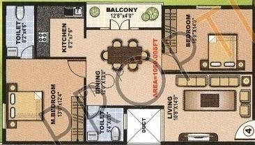 PNR SLV Hights (2BHK+2T (1,050 sq ft) Apartment 1050 sq ft)
