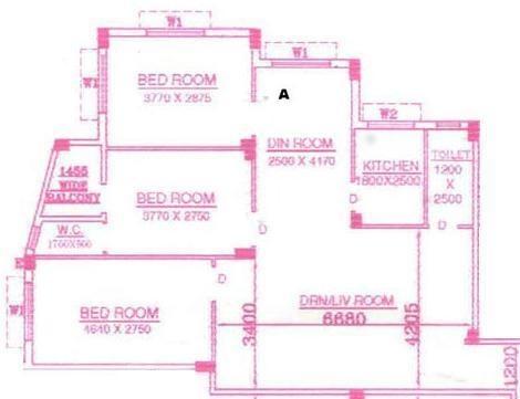 Rajwada Blues (3BHK+3T (1,425 sq ft) Apartment 1425 sq ft)