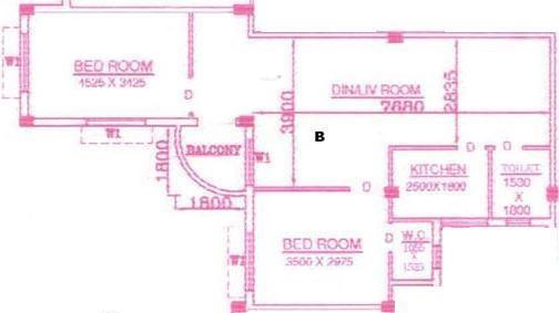 Rajwada Blues (2BHK+2T (1,075 sq ft) Apartment 1075 sq ft)
