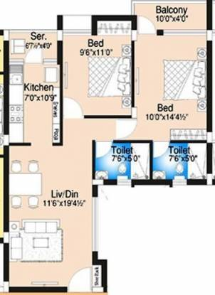 DABC Begonia (2BHK+2T (994 sq ft) Apartment 994 sq ft)