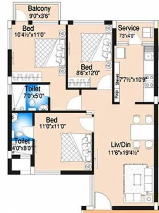 DABC Begonia (3BHK+2T (1,331 sq ft) Apartment 1331 sq ft)