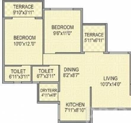 Aditya Garden Floraa (2BHK+2T (920 sq ft) Apartment 920 sq ft)