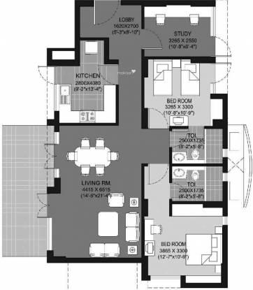Unitech Escape (2BHK+2T (1,550 sq ft) + Study Room Apartment 1550 sq ft)