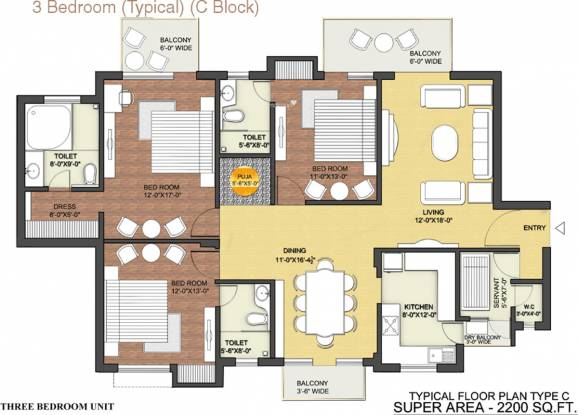 Tulip Ace (3BHK+3T (2,200 sq ft) + Servant Room Apartment 2200 sq ft)