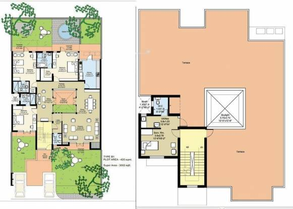 Unitech Birch Court (3BHK+5T (3,005 sq ft) + Servant Room Villa 3005 sq ft)