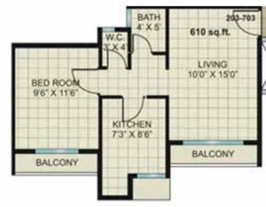 Kesar Gardens (1BHK+1T (610 sq ft) Apartment 610 sq ft)