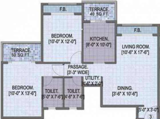 Goodwill Paradise (2BHK+2T (1,251 sq ft) Apartment 1251 sq ft)