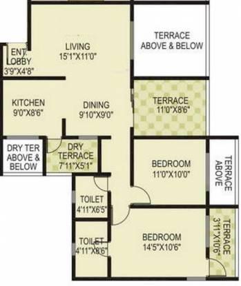 Mont Vert Belrose (2BHK+2T (1,085 sq ft) Apartment 1085 sq ft)