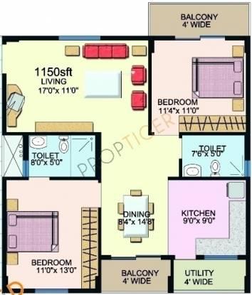 Sumadhura Sawan MTB (2BHK+2T (1,150 sq ft) Apartment 1150 sq ft)