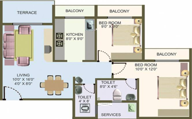 Nisarg Hyde Park (2BHK+2T (1,200 sq ft) Apartment 1200 sq ft)