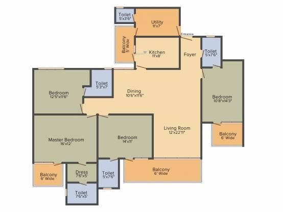 Tulip Purple (4BHK+4T (2,400 sq ft) + Servant Room Apartment 2400 sq ft)