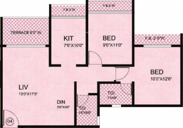 Tharwani Riverdale (2BHK+2T (1,123 sq ft) Apartment 1123 sq ft)