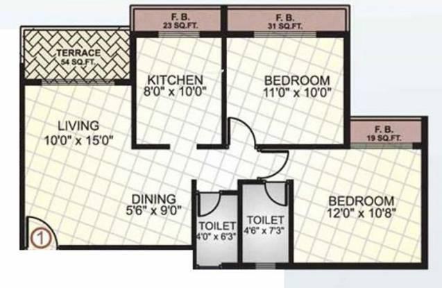 Sai Manomay Apartments (2BHK+2T (1,050 sq ft) Apartment 1050 sq ft)