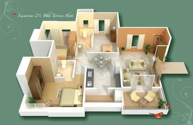 GK Rose County (3BHK+3T (1,217 sq ft) + Study Room Apartment 1217 sq ft)