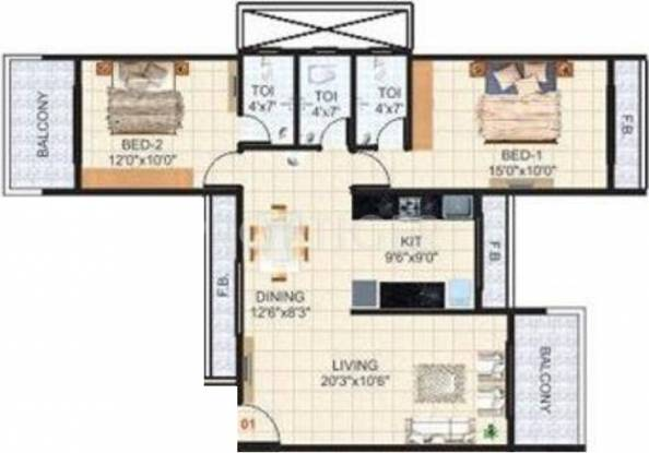 Krishna Tower (2BHK+3T (1,490 sq ft) Apartment 1490 sq ft)