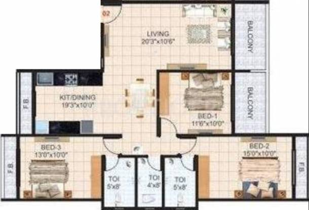 Krishna Tower (3BHK+3T (1,790 sq ft) Apartment 1790 sq ft)