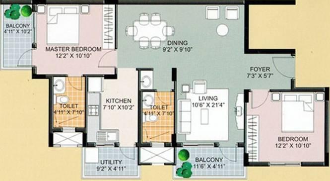 Ksr Crimson Tide (2BHK+2T (1,209 sq ft) Apartment 1209 sq ft)